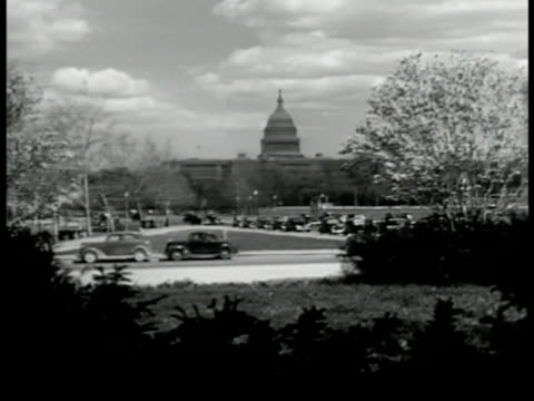 capitol traffic fg ms capitol building ws us president harry s truman off airplane steps ms truman talking by airplane secretary of state dean... - washington state stock videos and b-roll footage