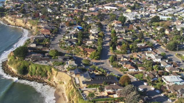 capitola streets and houses - drone shot with upward tilt - santa cruz county california stock videos & royalty-free footage