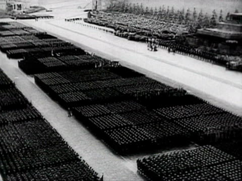 capitulation victory parade and german flags thrown on ground audio / moscow, russia - 1945 stock-videos und b-roll-filmmaterial