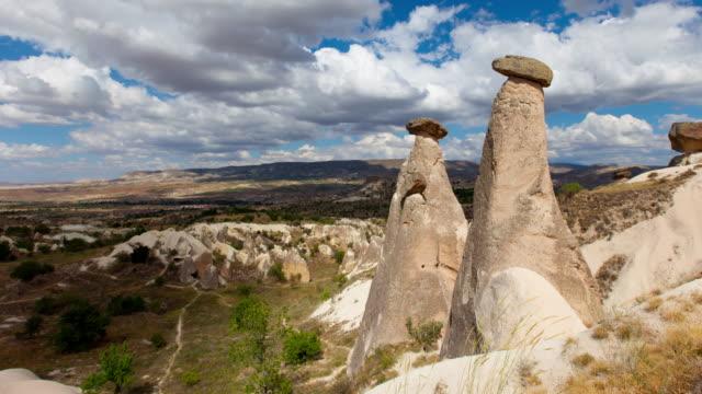 4k: cappadocia, rocks in the form of stone mushrooms - rock hoodoo stock videos & royalty-free footage