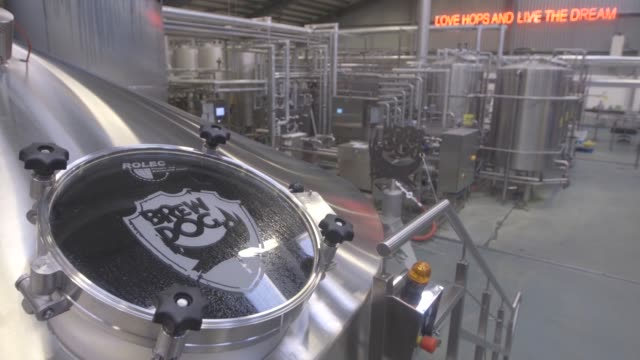 capped bottles of dead pony pale ale travel along the bottling section of the production line at the brewdog plc brewery and headquarters near... - metalwork stock videos and b-roll footage
