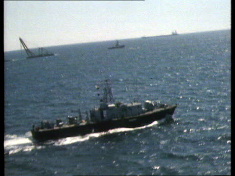 isle of wight gv german tanker in tow by salvage ship copyright originally southern now meridian - rimorchiare video stock e b–roll