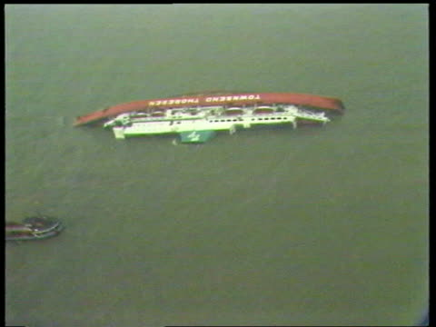 stockvideo's en b-roll-footage met capsized polish ferry baltic airv jan heweliusz capsized in sea airv propellers of ferry pull out - ferry