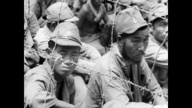 / captured japanese soldiers walk slowly through the jungle looking at the camera / japanese pows sitting behind the barbed wire walls of a pow camp... - 1943 stock videos & royalty-free footage