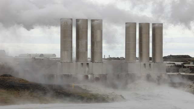 capturing geothermal steam from boreholes to power the reykjanes geothermal power station near reykjavik in iceland. the power station produces 100... - hot spring stock videos & royalty-free footage
