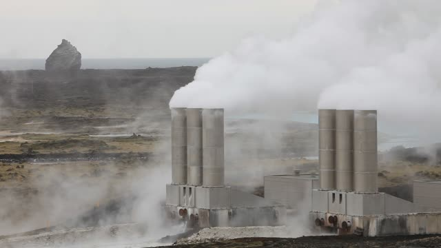capturing geothermal steam from boreholes to power the reykjanes geothermal power station near reykjavik in iceland. the power station produces 100... - fuel and power generation stock videos & royalty-free footage