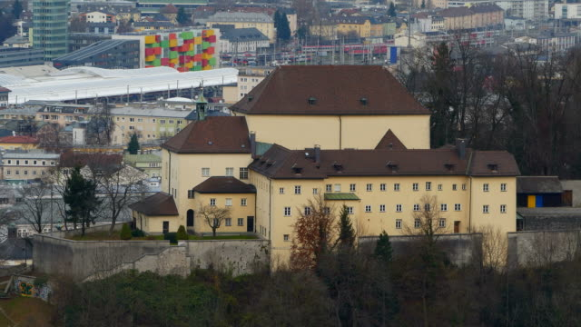 capuchin monastery and central station, salzburg, austria - campo totale video stock e b–roll