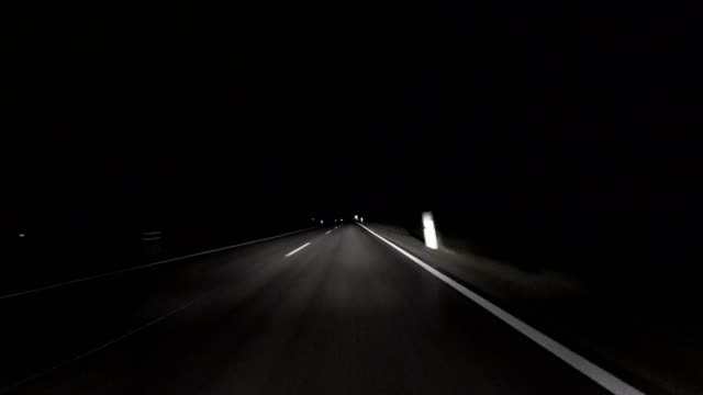 Car POV: Bavarian country road in autumn at night