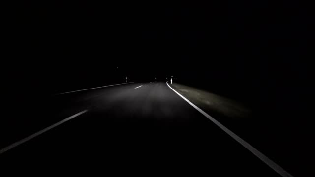 car pov: bavarian country road in autumn at night - car point of view stock videos and b-roll footage