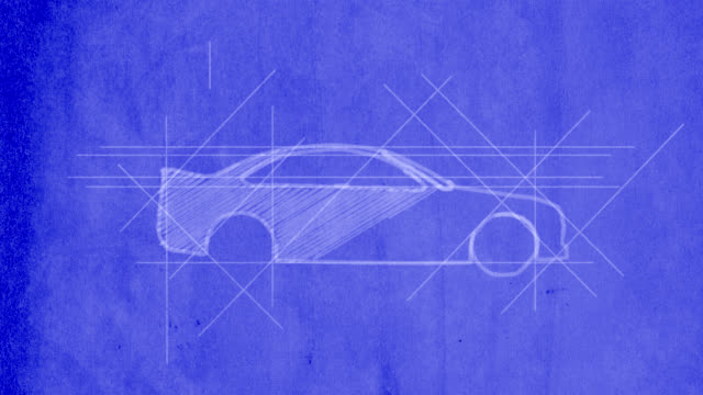 car being drawn on blueprint - blueprint stock videos & royalty-free footage