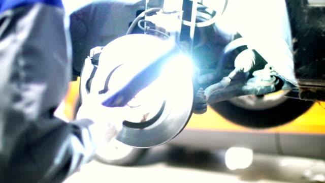 Car brake system inspection.