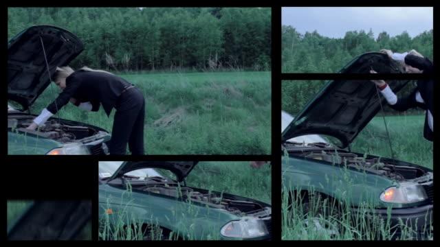 car breakdown. split screen. - split screen stock videos & royalty-free footage