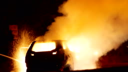 Car burning by the highway: Series