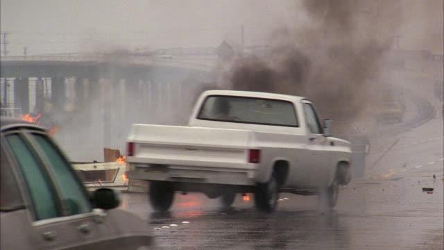 WS Car burning on highway