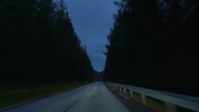 pov car by the fjords of norway: twilight night driving - curve stock videos & royalty-free footage