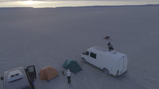 AERIAL: Car Camping in the Alvord Desert