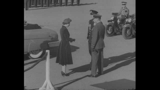 car carrying princess elizabeth and prince philip comes to stop on tarmac at canadian forces base trenton / elizabeth and philip shake hands with air... - cadet stock videos & royalty-free footage