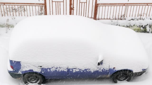A car covered with snow during the snowstorm