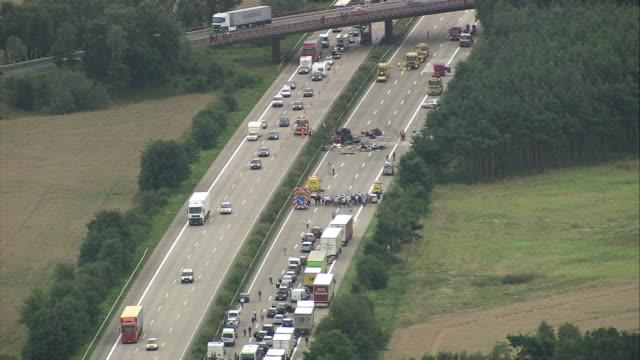 aerial car crash on motorway, hamburg, lower saxony, germany - 事故点の映像素材/bロール