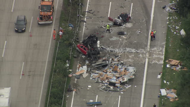 AERIAL ZO Car crash on motorway, Hamburg, Lower Saxony, Germany