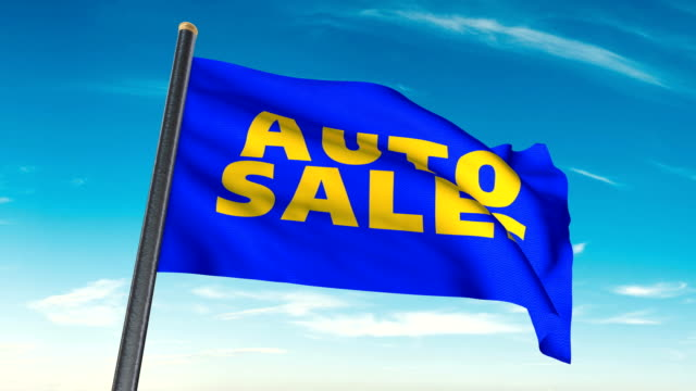 car dealership auto sale flag waving (luma matte included so you can put your own background) - car showroom stock videos & royalty-free footage