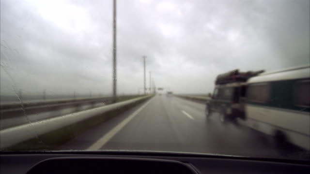 A car drive in bad weather Oresundsbron Sweden.