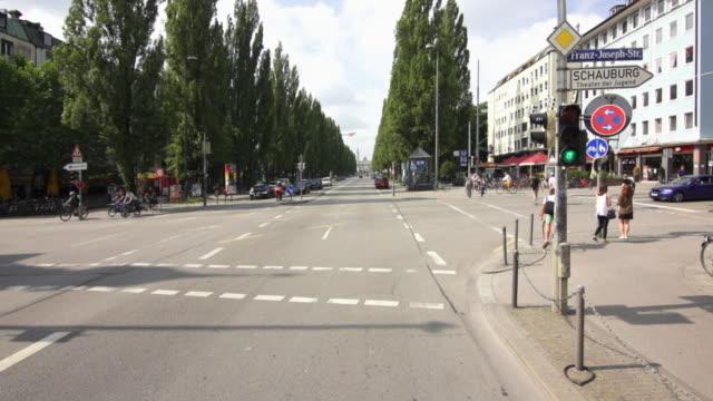 pov car drive on ludwigstrasse in munich - von bäumen gesäumt stock-videos und b-roll-filmmaterial