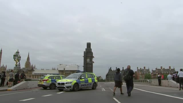 Car driven into barriers outside Houses of Parliament ENGLAND London Westminster EXT Police cars parked on cordonedoff Westminster Bridge with Big...