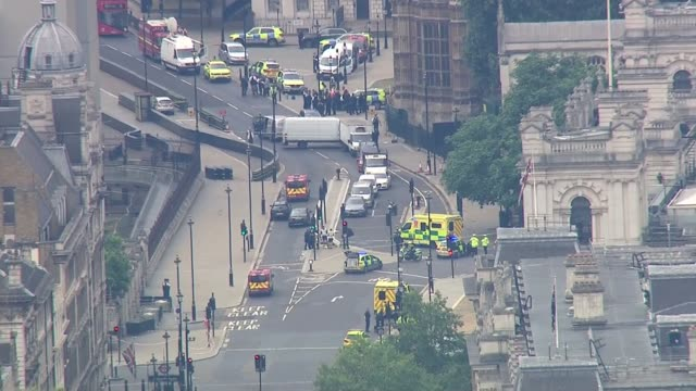 Car driven into barriers outside Houses of Parliament ENGLAND London Westminster Car crashed into barrier outside Houses of Parliament with emergency...