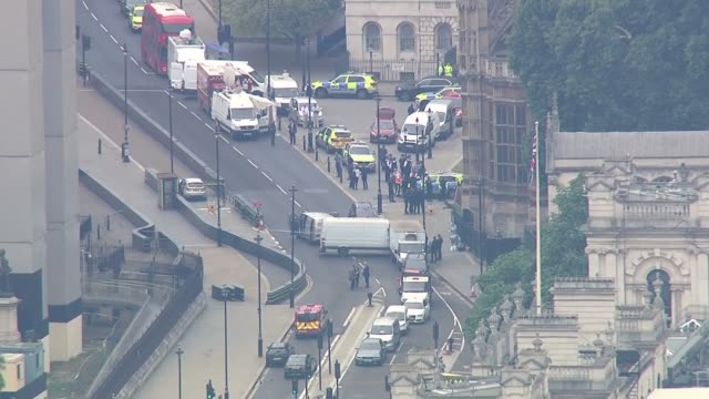 Car driven into barriers outside Houses of Parliament ENGLAND London Westminster of car crashed into barrier outside Houses of Parliament with police...