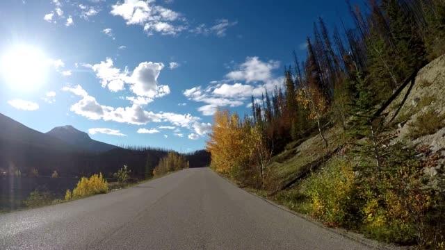 Car drives along lake stunning lake road POV