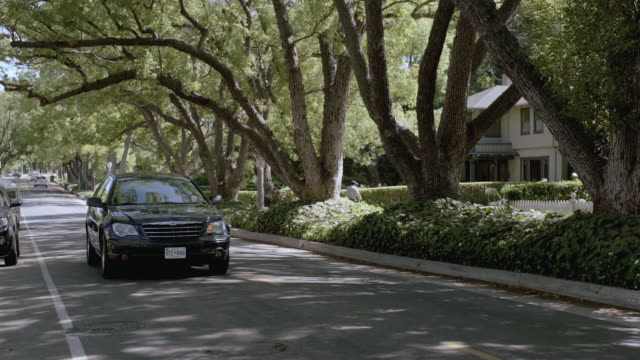 TS Car driving along a tree-lined street and turning left onto the driveway of large, white home with picket fence and plantings