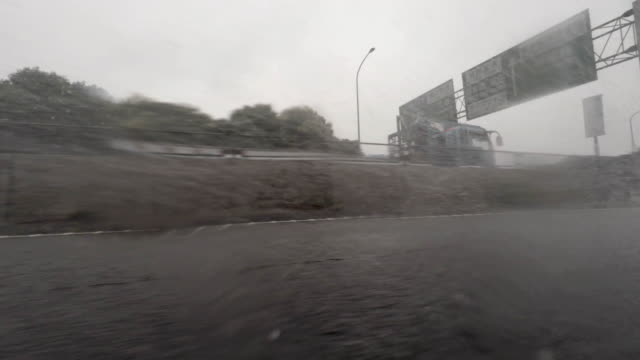 Car driving at rainy day - side view - 4K