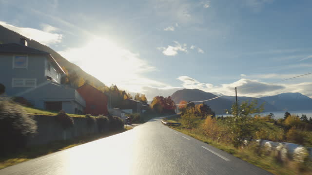 pov car driving by the fjords of norway: outdoor in autumn - curve stock videos & royalty-free footage