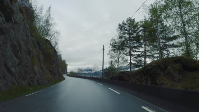 pov car driving by the fjords of norway: outdoor in sognfjord - car point of view stock videos & royalty-free footage