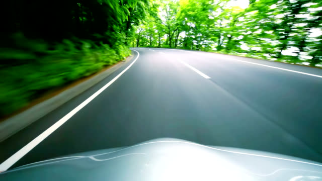 car driving fast into forest - plusphoto stock videos & royalty-free footage