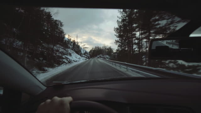 POV car driving in Norway: hardangerfjord