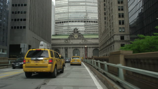 car pov driving in nyc toward and around grand central terminal - grand central station manhattan stock videos & royalty-free footage