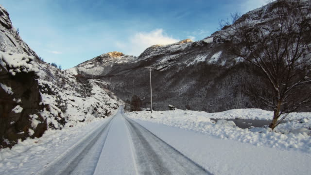 pov car driving in the arctic: winter roads - stavanger stock videos & royalty-free footage