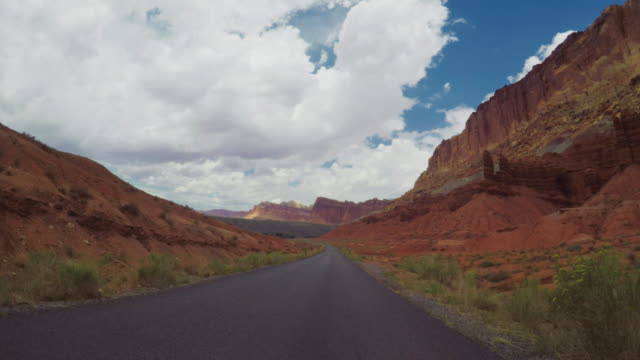POV car driving in the canyon of USA