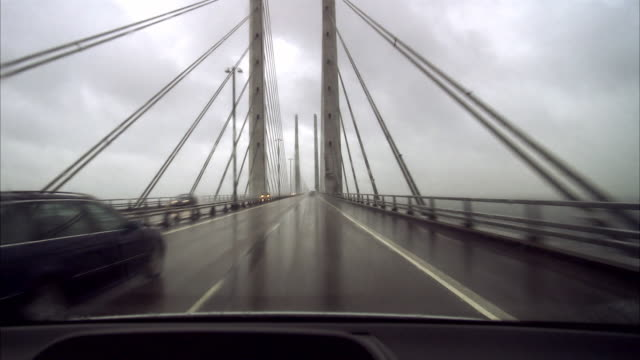 A car driving on a bridge Oresundsbron Sweden.
