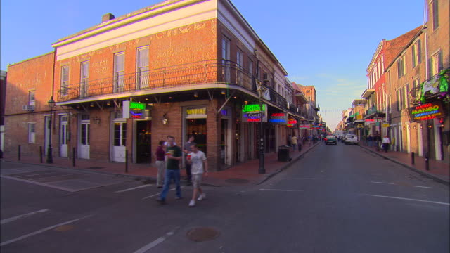 pov, car driving on bourbon street, new orleans, louisiana, usa - bourbon street new orleans stock videos and b-roll footage