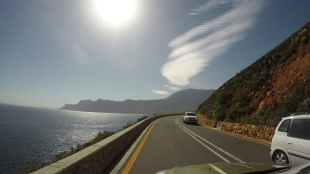 Car driving on coastal road POV