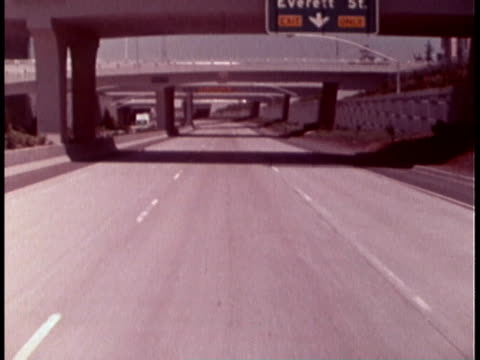 1970 POV car driving on highway in Portland / Oregon, United States