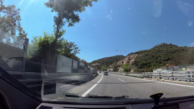 Car Driving on Highway. View from Car Cabin