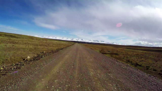 T/L Car driving on road of pastoral areas/Qinghai,China.