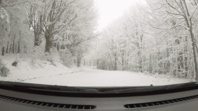 car pov driving on snow covered road, first snow falling. - learning to drive stock videos & royalty-free footage