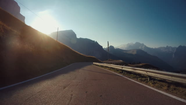 POV car: Driving on the Dolomites European Alps