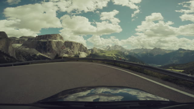POV Car driving on the Dolomites, European Alps
