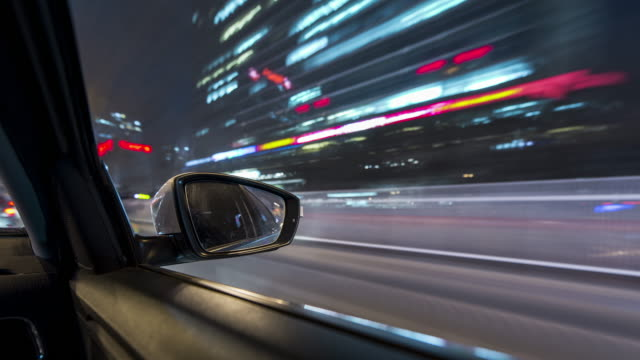 t/l ws pov car driving through city / beijing, china - car door stock videos & royalty-free footage